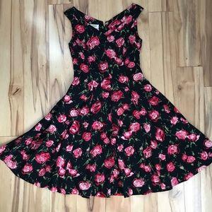 Talbots Petites Black floral dress size 6